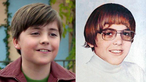 Thomas Robinson joue le jeune George Clooney (à gauche) et George Clooney lui-même quand il était jeune (à droite)