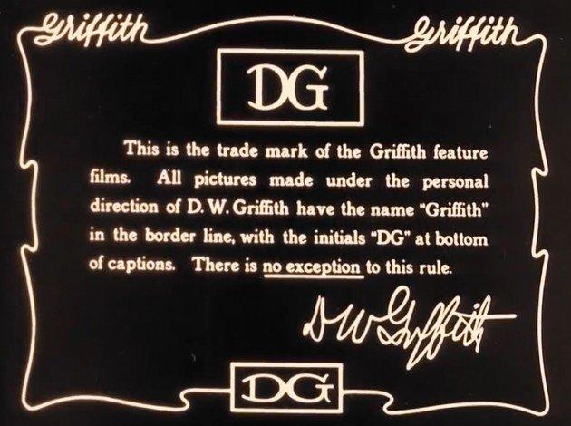 Le carton précisant le copyright pour controversé The Birth of a Nation réalisé par D.W. Griffith en 1915