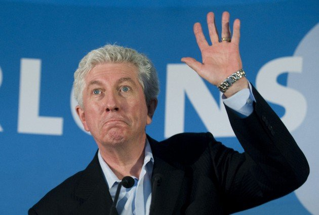 Bloc Quebecois Leader Gilles Duceppe waves to supporters during a campaign stop in Longueuil, Que., Monday, April 25, 2011.THE CANADIAN PRESS/Graham Hughes
