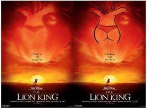 L'affiche controversée de John Alvin pour The Lion King (1994). Le visage de Mufasa semble dessiner une femme de dos en sous-vêtements...