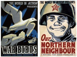 Deux affiches de Harry Mayerovitch pour la série World in Action.