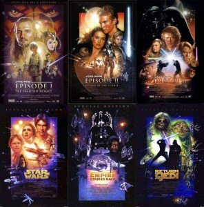 Ces posters des deux trilogies antérieures ont été dessinés par l'affichiste Drew Struzan.