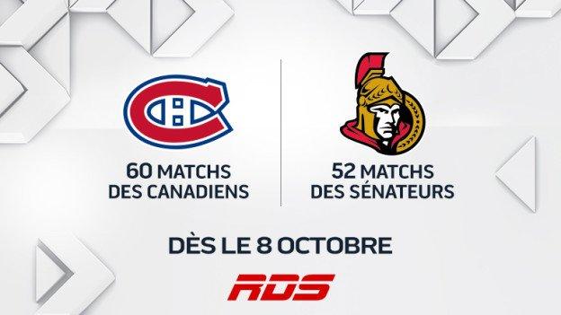 Canadiens de Montréal et des Sénateurs d'Ottawa dès le 8 octobre sur les chaînes de RDS