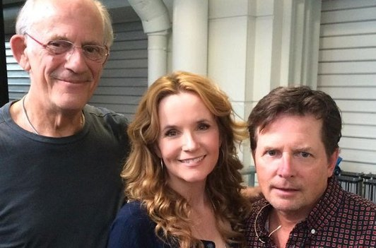 Christopher Lloyd, Lea Thompson et Michael J. Fox en 2015.