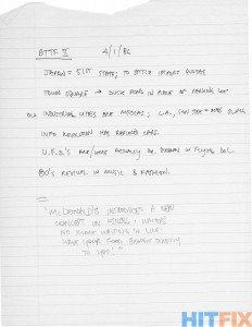 Notes manuscrites de Bob Gale pour Back to the Future Part II & III et datées du 1er avril 1986.