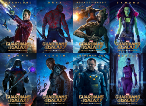 Affiches promotionnelles des personnages pour le film Guardians of the Galaxy (2014).