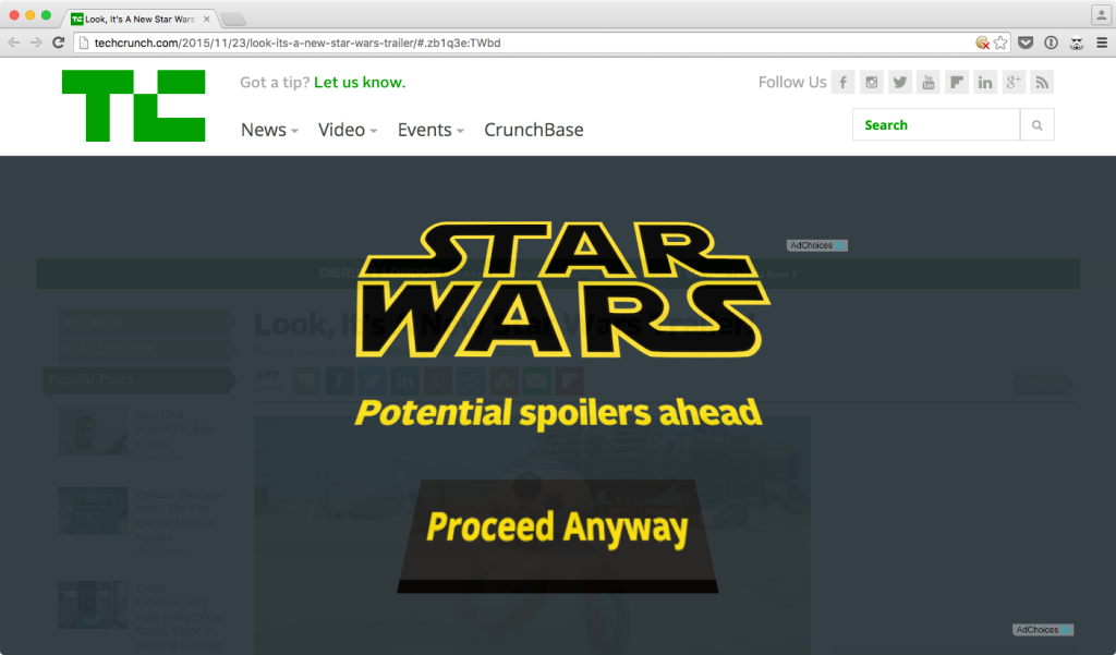 Star Wars: The Force Awakens: Star Wars Spoiler Blocker l'extension qui prévient les spoilers