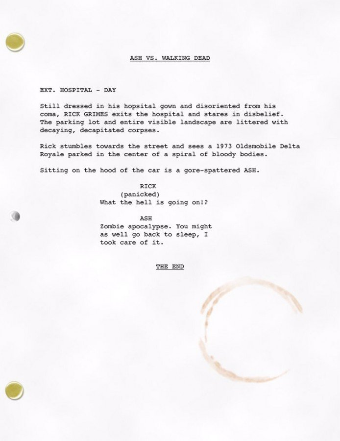 Ash vs Evil Dead et The Walking Dead script