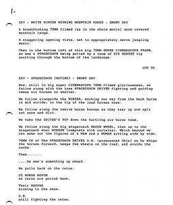 Première page du scénario qui a fuité sur Internet en janvier 2014.