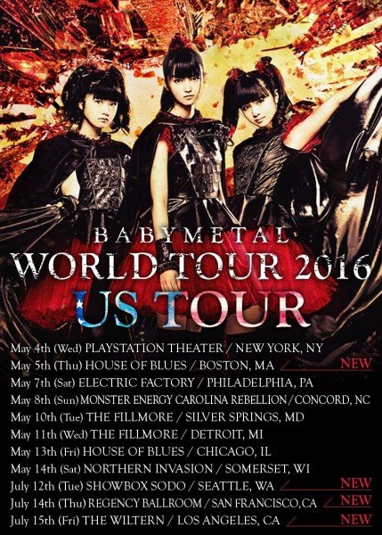 BABYMETAL - KARATE  us tour 2016