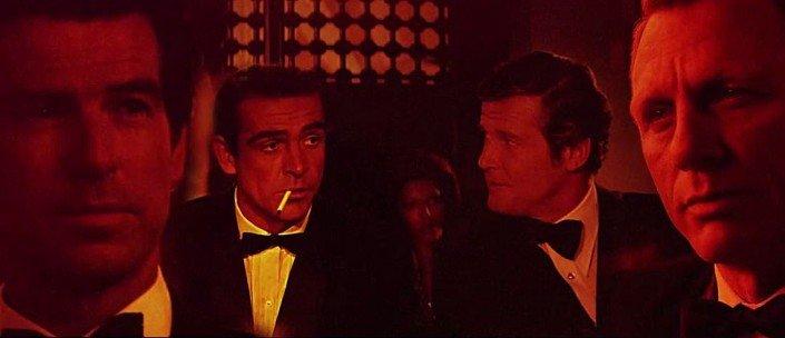 Les quatre principaux interprètes de James Bond partagent l'écran!