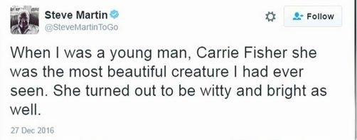 Féminisme: Steve Martin forcé d'effacer son hommage à Carrie Fisher