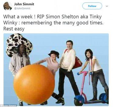 Les Télétubbies: décès de l'acteur Simon Shelton Barnes (Tinky Winky)